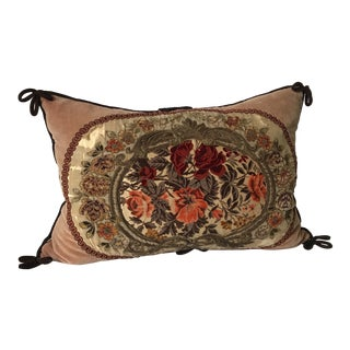 Victorian Embroidered Crewel Velvet Pillow