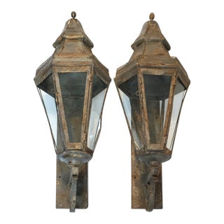 Antique French Brass Painted Lanterns-Pair For Sale