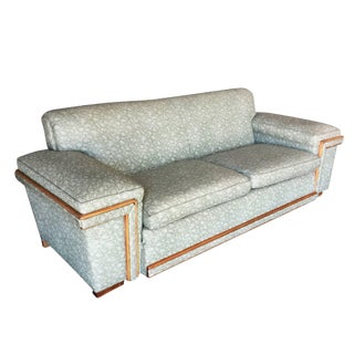 Mid-Century Sofa in the Milo Baughman Style With Walnut Trim For Sale