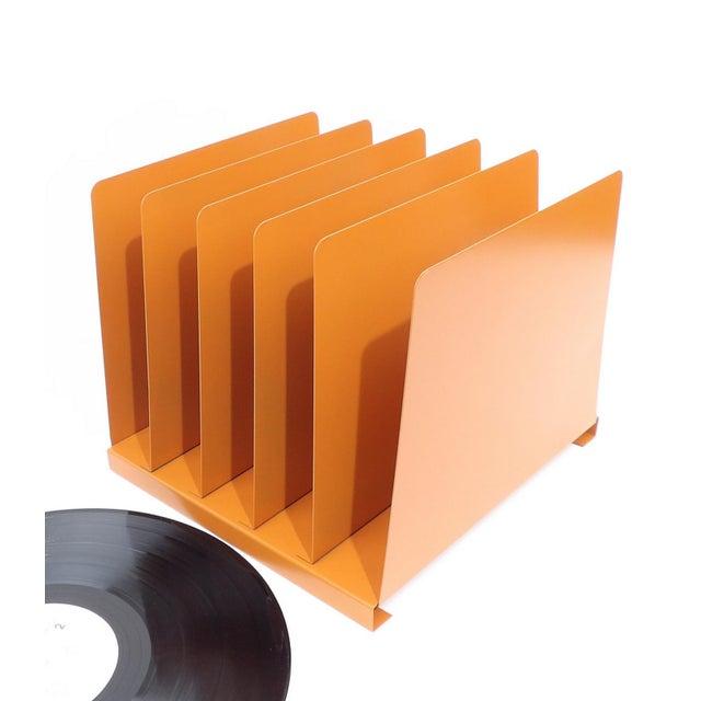 Orange Wooden Desk Organizer - Vinyl Record Rack - Image 6 of 10