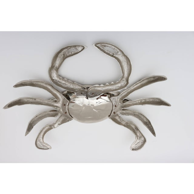 Nickle-Plated Life Size Crab Form Lidded Dish by Angel & Zevallos C. 2017 For Sale - Image 9 of 10