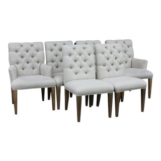 Century Furniture Tufted Woven Cream Fabric Dining Chairs - Set of 6 For Sale