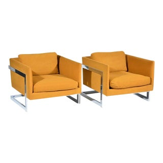 Milo Baughman for Thayer Coggin Chrome Lounge Chairs- a Pair For Sale