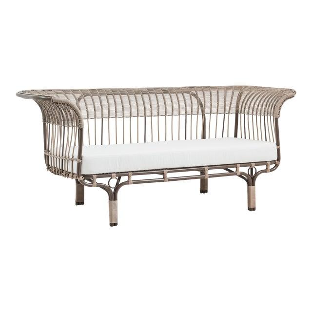 Franco Albini Belladonna Exterior Sofa - Moccachino - Tempotest White Canvas Cushion For Sale