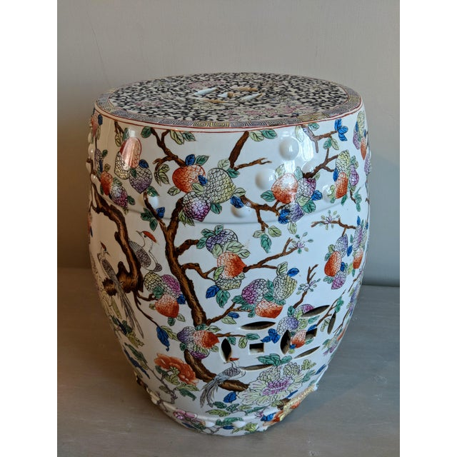1980s Chinese Bird and Floral Detailed Enameled Porcelain Garden Stool For Sale - Image 12 of 12