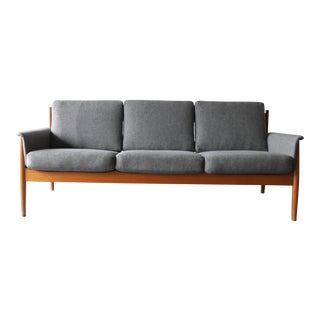Vintage Mid Century Danish Modern Master Grete Jalk Teak Sofa For Sale