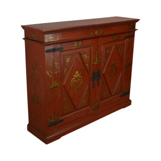 Continental Style Custom Quality Red Hand Painted Console Cabinet For Sale