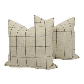 Linen Blend Plaid Riley Pillows, a Pair For Sale