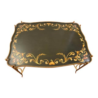 1960s Handpainted French Tole Coffee Table For Sale
