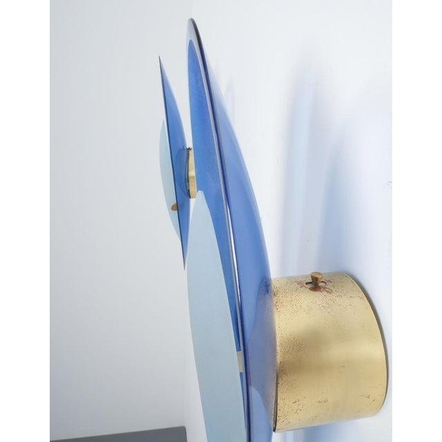 Gold Pair of Max Ingrand Fontana Arte Blue Glass Sconces Wall Lamps, Italy, 1960 For Sale - Image 8 of 13