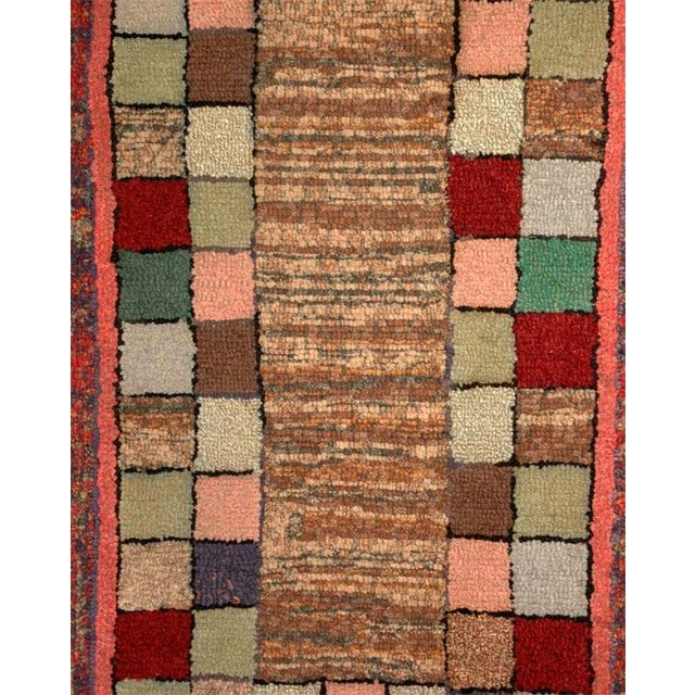Primitive 1930s Mounted Blocks Hand-Hooked Rug For Sale - Image 3 of 7