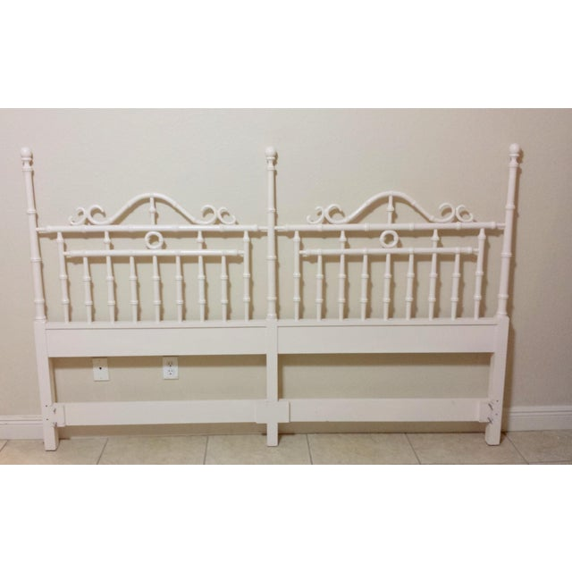 Vintage Chinese Chippendale Faux Bamboo Fretwork King Size Headboard - Image 8 of 8