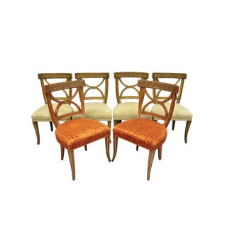 Hollywood Regency Italian Neoclassical Greek Key Painted Dining Room Chairs- Set of 6 For Sale