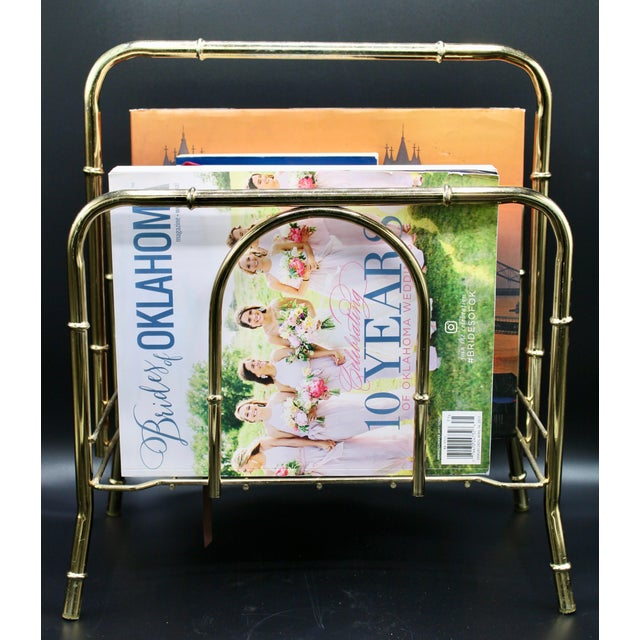 Vintage Brass Bamboo Style Magazine Rack / Book Shelf For Sale - Image 11 of 13