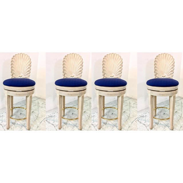 Set of 4 Shell Back Swivel Barstools - Image 2 of 9