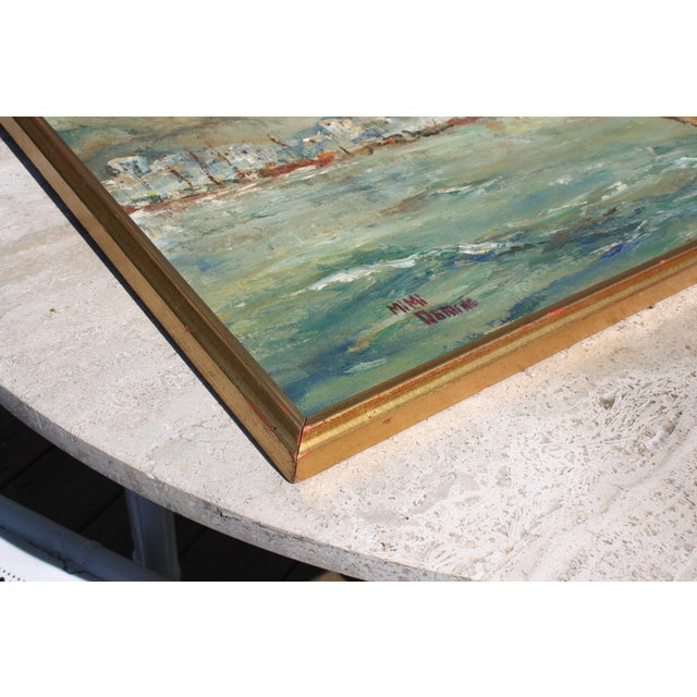 "Mid-Century Oil on Board Titled ""Hong Kong"" Depicting Junk Boat Harbour Scene For Sale - Image 9 of 12"