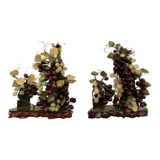 Vintage Jade and Amethyst Group of Grapes Tableware - a Pair For Sale