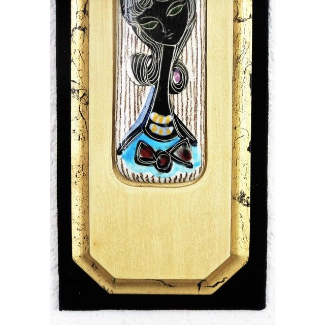 1960s Fantoni Style Ceramic & Wood Wall Plaque | Chairish