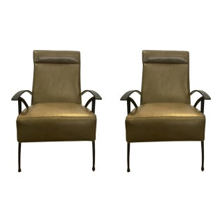 Pair of Mid-Century Style Caracole Leather Chairs For Sale