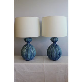 Large Scale Blue Mid Century Modern Ceramic Table Lamps - a Pair Preview
