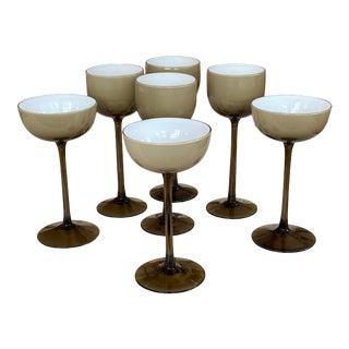 Carlo Moretti Smokey Taupe Coupe and Wine Glasses For Sale