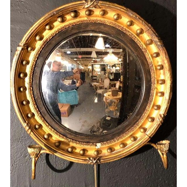 19th Century Federal Giltwood Bullseye Convex Mirror Wall Sconce For Sale - Image 10 of 11
