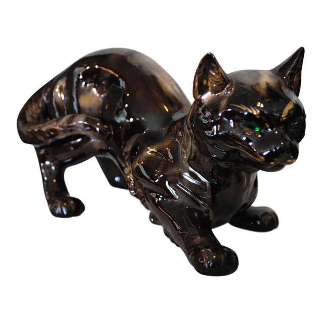"Vintage 'Golden Bronze"" Ceramic Crouching Cat Figurine For Sale"