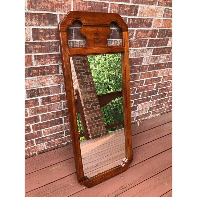 Asian 1970s Chinoiserie Bassett Wood Wall Mirror For Sale - Image 3 of 8