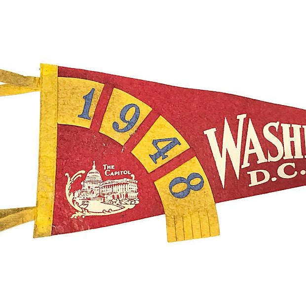 Red-and-yellow Washington, DC pennant with woven 1948 flag and image of the Capitol building. No maker's mark.