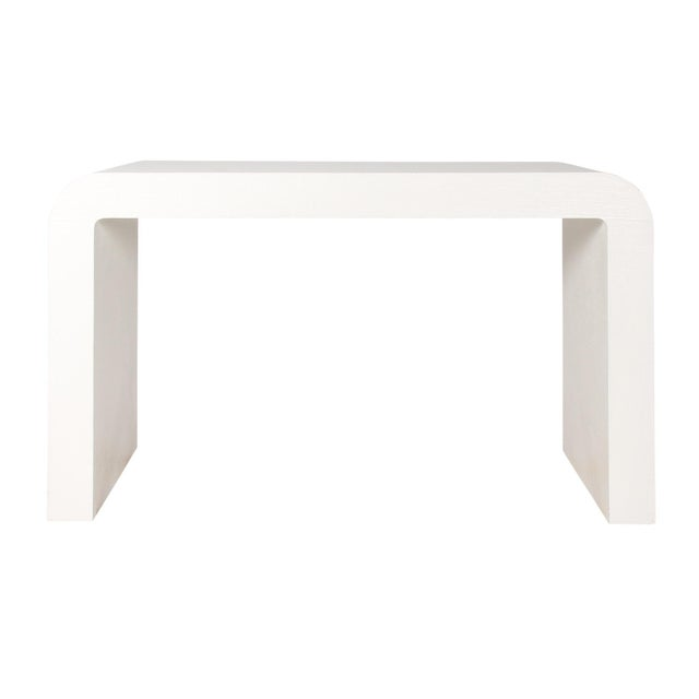 1970s Karl Springer Style White Grasscloth Waterfall Desk - Image 5 of 7