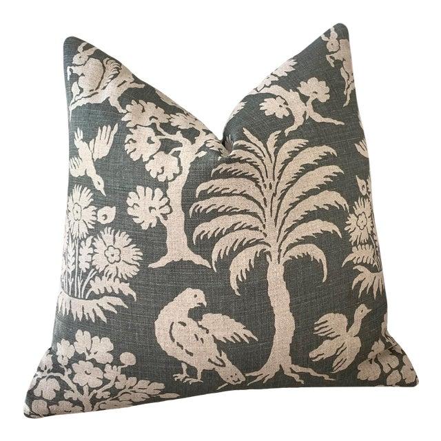 Schumacher Woodland Silhouette Moss Green Pillow Cover 16x16 For Sale