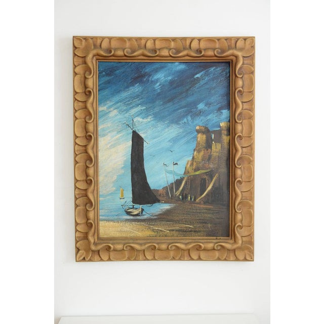 Nautical Vintage Mid-Century Large Ship Nautical Framed Painting For Sale - Image 3 of 11
