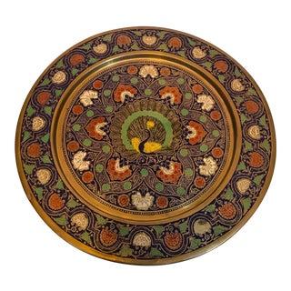 Khadi Bhavan Brass and Enamel Peacock Wall Plate For Sale
