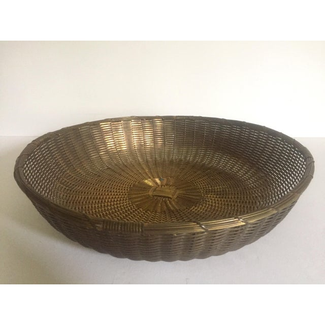 Vintage 1940's Brass Hand Woven Large Round Rustic Metal Basket - Image 3 of 11