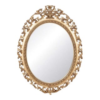 19th Century Carved French Louis XVI Style Oval Shaped Giltwood Mirror For Sale