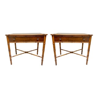 Pair of Large Hekman Inlaid Burl Faux Bamboo Tables For Sale