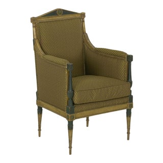 19th Century French Directoire Painted Antique Bergere Arm Chair For Sale