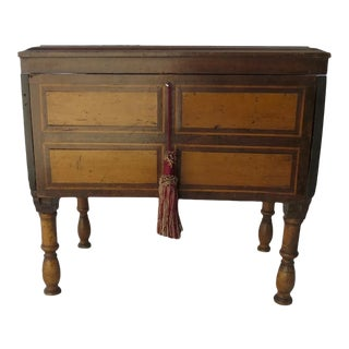 Small Lift Top Chest on Legs Inlaid Spanish Colonial Side Table For Sale