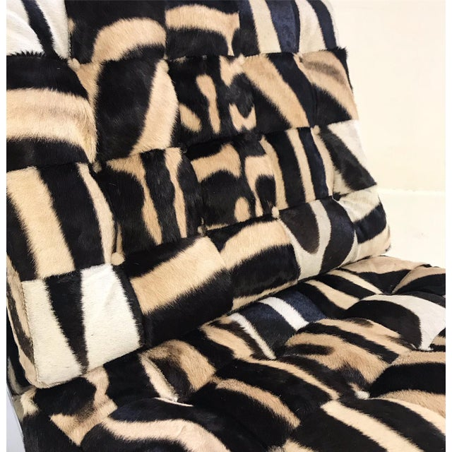 Vintage Barcelona Style Patchwork Zebra Hide Chairs - A Pair For Sale - Image 4 of 7