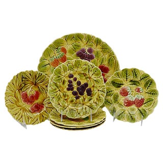 Vintage French Majolica Serving Set, 7Pcs For Sale