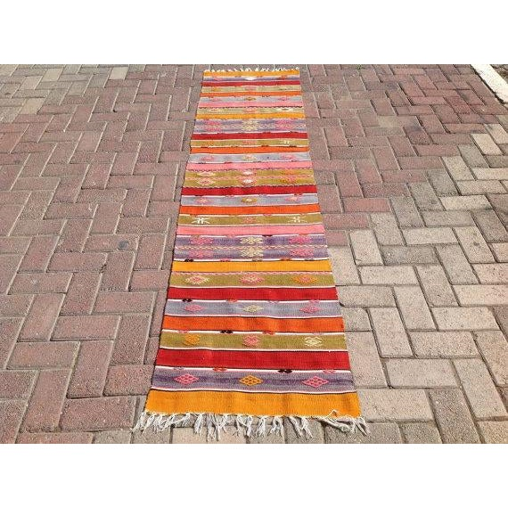 "Vintage Turkish Kilim Runner - 1'10"" X 7'6"" - Image 2 of 6"