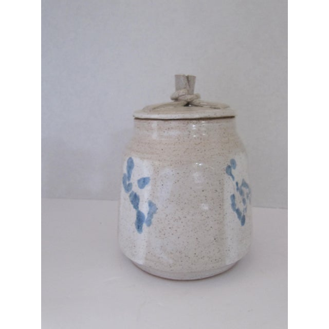 Traditional Hand-made Lidded Pottery Jar with Blue Flowers For Sale - Image 3 of 5