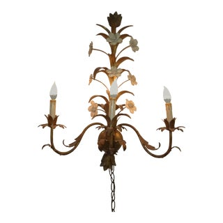 Vintage French Provincial Gold Floral Three Light Wall Light Mid Century Modern For Sale