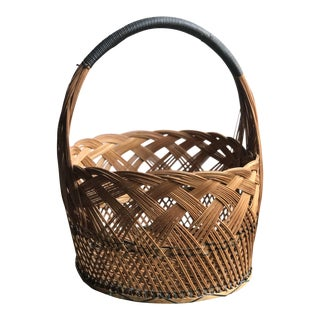 Large Handwoven Pine Straw Basket With Leather Wrapped Handle For Sale