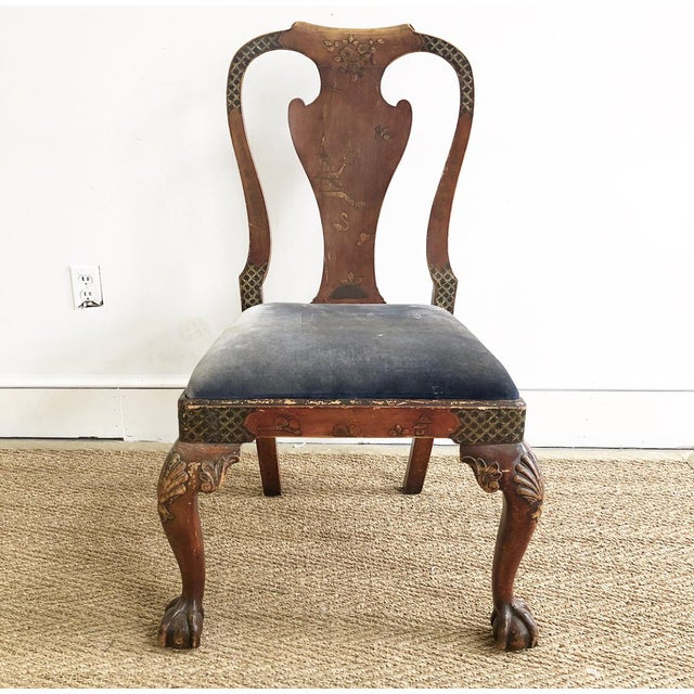 Antique Chinoiserie Queen Ann Claw Foot Chair For Sale - Image 13 of 13