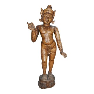 Antique East Indian Wooden Carved Statue of Deity Figure Krishna For Sale