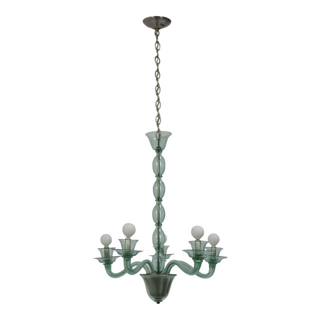 Mid-Century Modern Solid Aqua Murano Glass Chandelier For Sale - Image 11 of 11