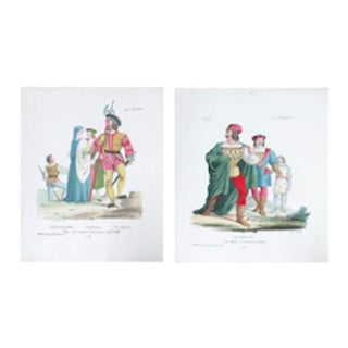 Pair of Vintage Italian Costume Prints, Circa 1700 (Set of 2) For Sale