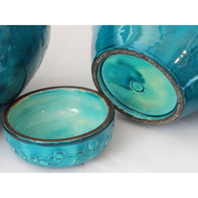Turquoise Awaji Pottery Ginger Jars, Covers Applied and Incised Prunus - a Pair For Sale In New York - Image 6 of 9