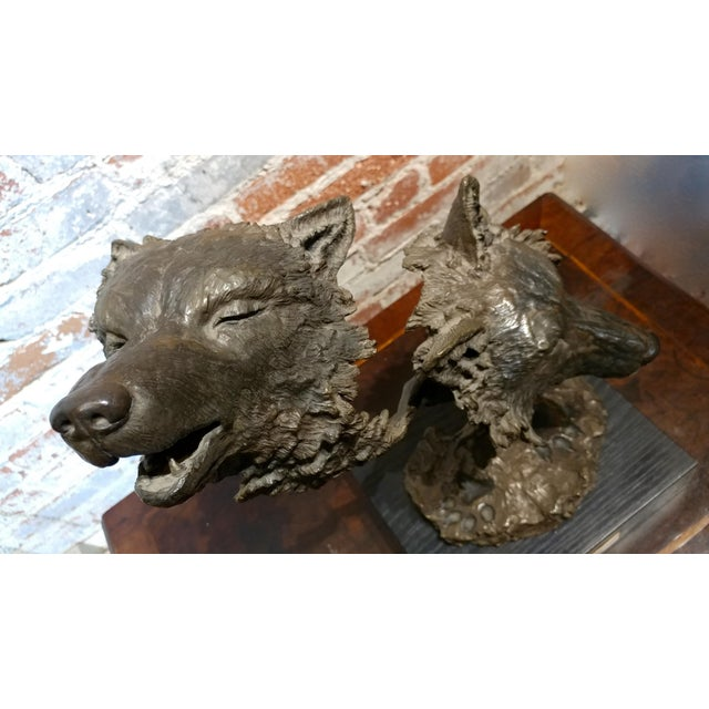 Mark Hopkins -Cry of the Wolves - Southwestern Bronze Sculpture For Sale - Image 5 of 10